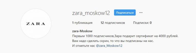 Пример мошеннической страницы бренда ZARA