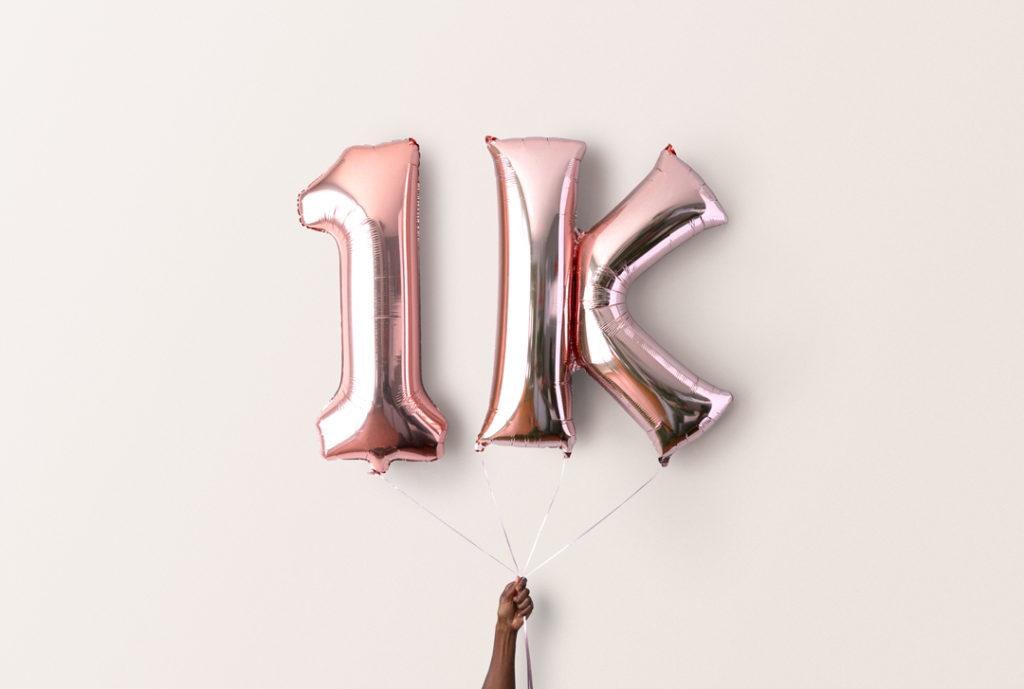 1K followers balloons