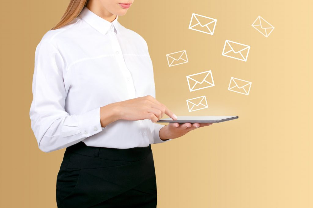 woman getting emails
