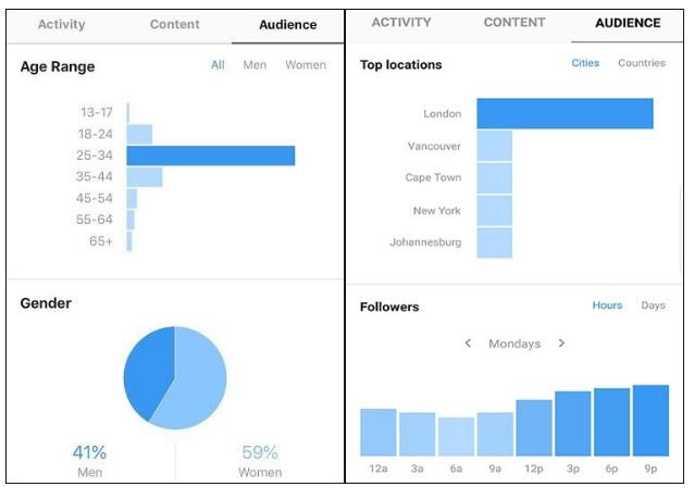 statistic of account Instagram