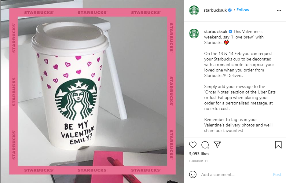 Valentine's Day event from Starbucks UK